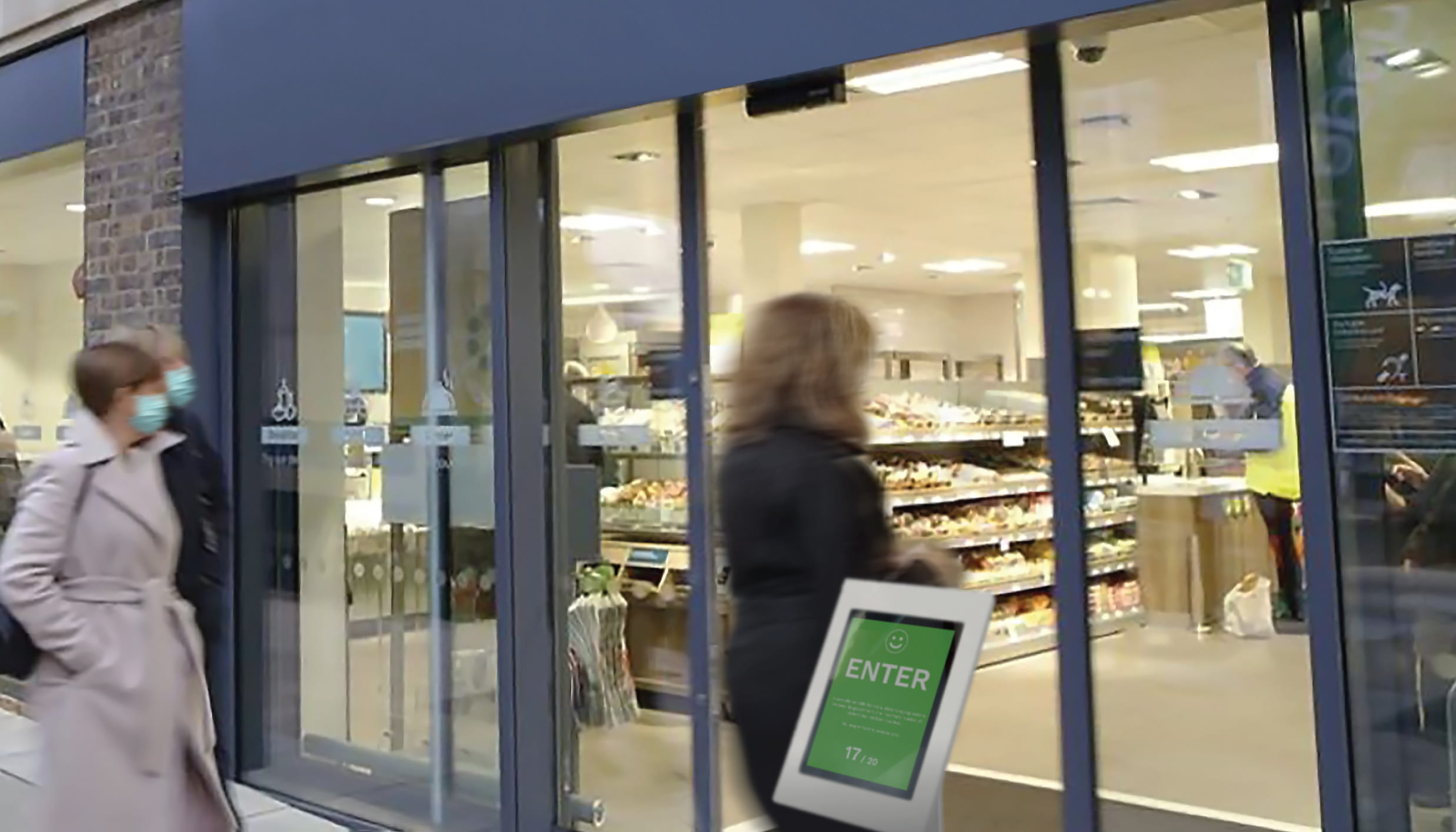 FootfallCam Covid-19 Automated Occupancy Control System - Store Entrance